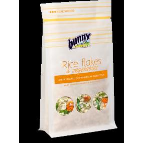 Copos de arroz y verduras