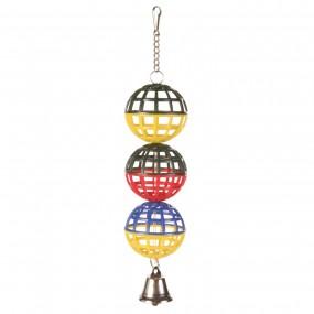 Juego de pelota para jaula con cadena y campana